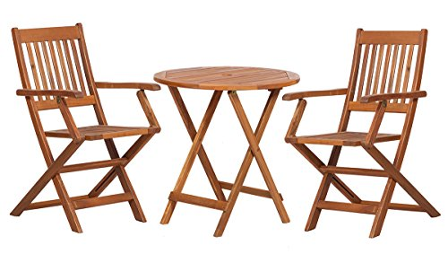 Royalcraft York 2-Sitzer Bistro Set zusammenklappbar mit Sessel Holz Bistro Patio Set