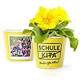 Schule Kita Blumentopf (ø16cm) | Lustiges Geschenk im Ortsschild Look zum Abschied mit Rahmen für zwei Fotos (10x15cm) | Danke für alles!