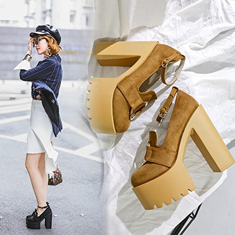 ZHZNVX Nuevos Zapatos de Tacón Grueso con Taiwán Impermeable Zapatos de Hebilla Hembra, Negro,35 -