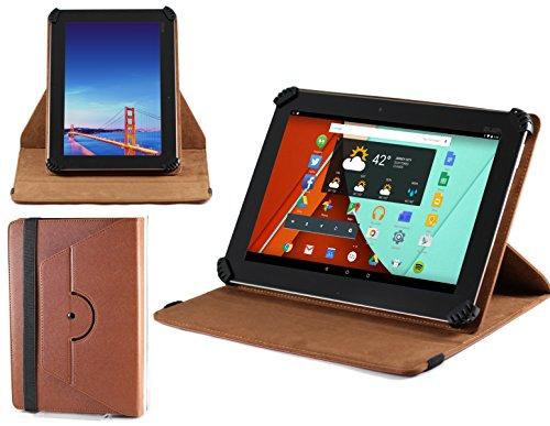 Navitech stilvolles rotierbares 10 Zoll Stand Case Cover Hülle in Braun mit Stylus Pen für das Odys Lux 10 Tablet-PC