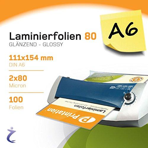100 Stück DIN A6 Laminierfolientaschen 111 x 154mm, 2x 80 mic, Hochglanz Printation Premium Laminierfolien