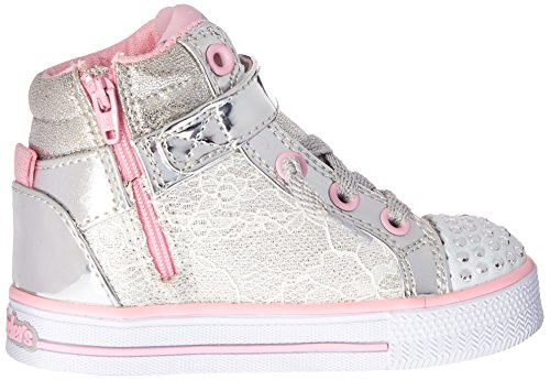 Skechers Shuffles Doily Dance Toile Baskets Silver/Pink Doily