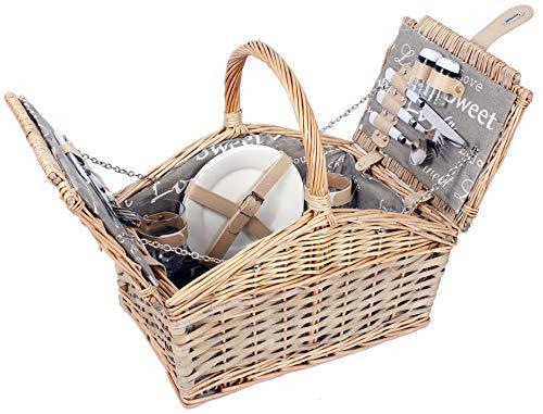 Selltex Picknickkorb für 2 Personen Weidenkorb inkl. praktischem Inhalt Messer Porzellan Teller Gläser Weide Korb