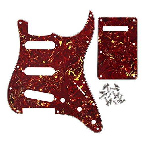IKN Pickguard Rückenplatte Tremolo Cavity Cover Set, 3Ply SSS mit 25 Schrauben, Purpurrote Schildkröte