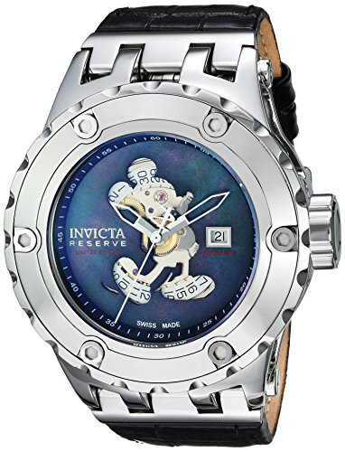 Invicta Men's 'Disney Limited Edition' Automatic Stainless Steel and Leather Casual Watch, Color Black (Model: 23457)