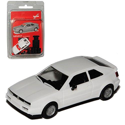VW Volkswagen Corrado Weiss 1988-1995 Bausatz Kit H0 1/87 Herpa Modell Auto mit individiuellem Wunschkennzeichen