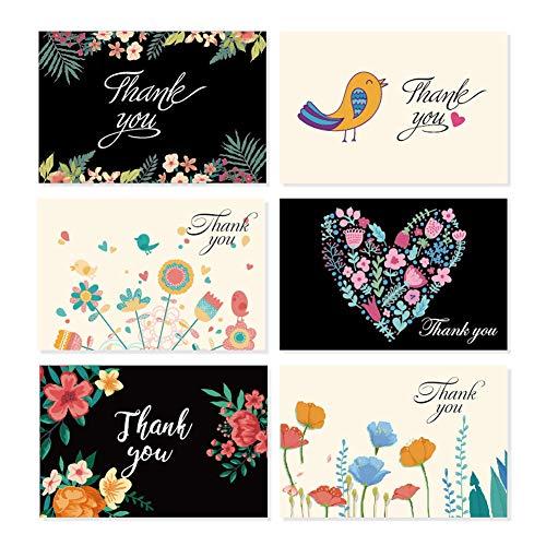 Bunte Blumen und Vogel danken Ihnen, Zusammenstellungs-Satz, Satz von 36 leeren Karten mit den Umschlägen zu kardieren, die für Hochzeiten, Brautpartys, Staffelung und Babypartys perfekt sind