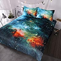 BlessLiving Galaxy Bedding Kids Boys Girls Outer Space Bedding Sets 3 Piece Red Blue Green Nebula Duvet Cover Universe Bed Set (Single)