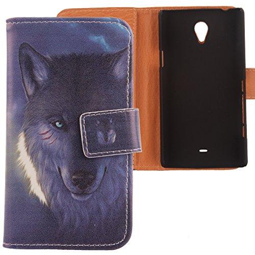 Lankashi PU Flip Leder Tasche Hülle Case Cover Schutz Handy Etui Skin Für Sony Xperia T Lt30P Wolf Design