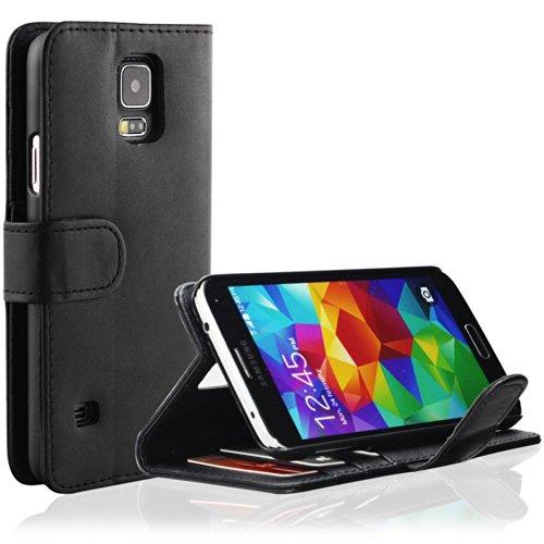 EnGive Samsung Galaxy S5 Hülle Ledertasche Schutzhülle Case Tasche mit Standfunktion und Card Holder Schwarz