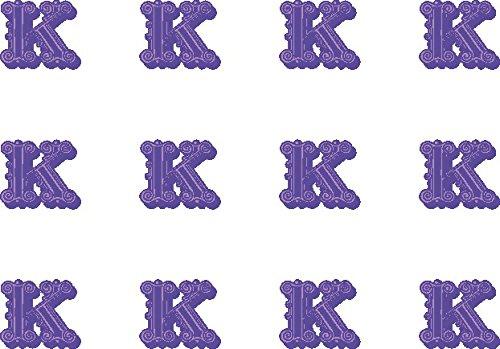 12x K (Buchstabe) Farbige 38mm (3,8cm) vorgeschnittenen Essbares Reispapier Cupcake Dekoration # 22