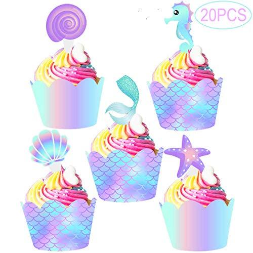 Cupcake-Topper und Wrapper in Meerjungfrau, doppelseitig, Dekoration für Meerjungfrau unter dem Meer, 20 Stück (Dem Unter Dekoration Meer)