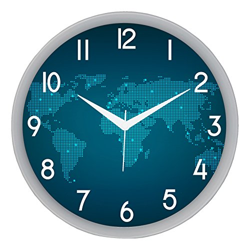 IT2M 11' Round Designer Wall Clock with Glass for Home / Kitchen / Living Room / Bedroom (Silent Non Ticking Movement)