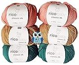 6x50 Gramm Rico Baby Classic DK 50% Polyacryl, 50% Polyamid Babywolle, 1 Eulen Knopf aus Holz (Grün Braun Aprikose Mix)
