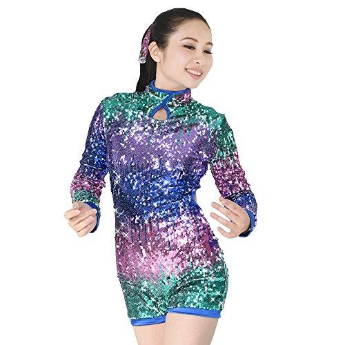 MiDee Volle Neon Farbe Paillettenbesetzte Tanz Biketard Jazz Kostüm (Mehrfarbig, PA)