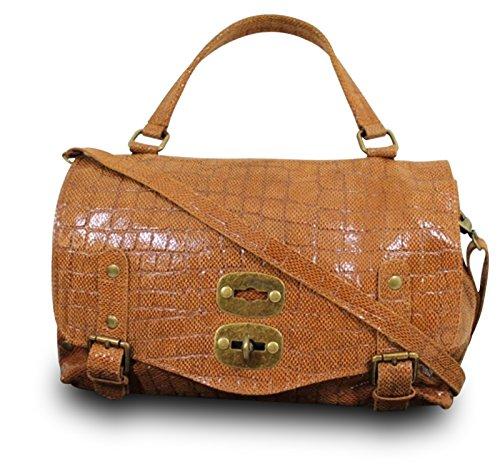 Made in italy sac à main bandoulière en cuir gravé serpent cognac