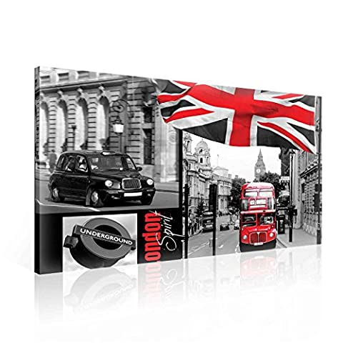 City London Underground Bus Flag Englan Canvas Print - Photo Print - O1 - 100cm x 75cm - Premium 260gsm Canvas, Hand-Finished, Solid MDF Frame - 2.6cm Thick - Integrated Hanging Hook - City and Urban Collection - (PP108O1)