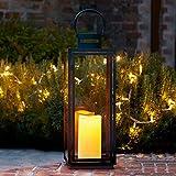 Lights4fun Grande Lanterne Noire en Métal avec Bougie LED pour Jardin à Piles, 65cm