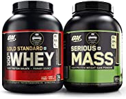 Optimum Nutrition (ON) Gold Standard 100% Whey Protein Powder - 5 lbs (Double Rich Chocolate) and Serious Mass
