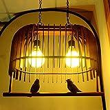 Retro Madera Birdcage araña de restaurante luces Creative pájaros sala de estudio, sala de estar Lámpara de techo colgante lámpara
