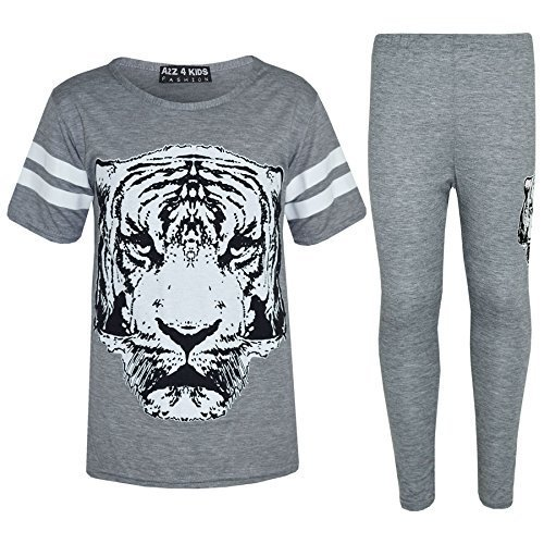 A2Z 4 Kids Girls Top Kids Tiger Face Print Baseball T Shirt & Fashion  Legging Set New Age 7 8 9 10 11 12 13 Years