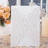 Hochzeit EinladungsKarten Hochzeitskarte 20 stück Edel Elegant DIKETE Glückwunschkarten für Geburtstag Babyparty Kommunion Taufe Party