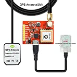 Red FR4 PCB L80-39 USB-Port-GPS Module and 3 Meters Antenna Kit, Support Raspberry Pi model A, B, A+, B+, Zero, 2, 3.