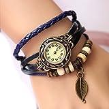 Gleader Retro Weave Wrap Around Leather Bracelet Lady Wrist Watch Quartz Watch (blue)