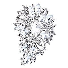 Idea Regalo - Spilla Gioiello,TENYE Marquise Cristallo austriaco Sposa mazzo di fiori e foglie Spilla Trasparente Argento-fondo
