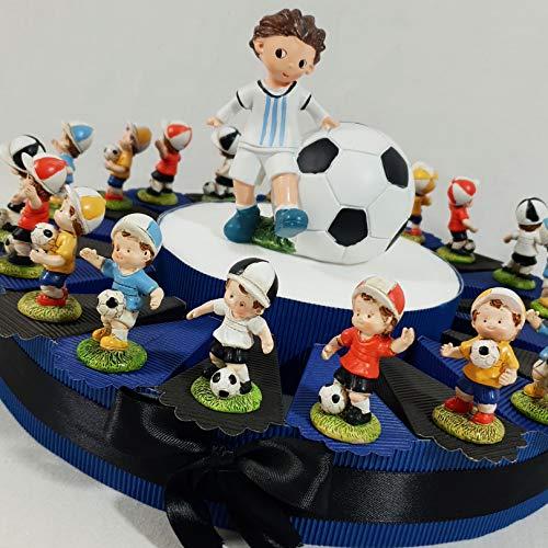 Battesimo nascita comunione bomboniera portaconfetti torta ragazzo calciatore calcio sport confetti compresi (torta da 20 fette + centrale)