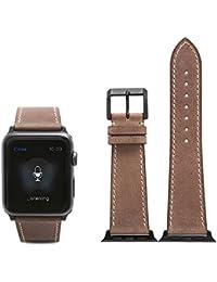 CHIMERA Reemplazo de cuero de becerro genuino para la correa de reloj de Apple iWatch & Sport & Edition 42mm Series 1 Brazalete de la serie 2 de la hebilla clásica Café de la correa de reloj suave estupendo (opción de 11 colores)