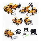 Nrpfell 6-in-1-Wasserbaufahrzeug-Serie Automobilspielzeug 1:50 Legierung Bagger Spielzeugauto
