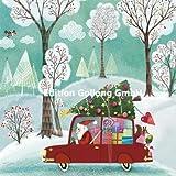 Mila Marquis Postkarte 140x140mm ~ Weihnachtsmann mit Auto ~ Weihnachten