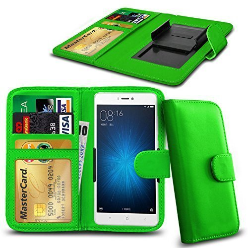 N4U ONLINE - Verschiedene Farben Clip Serie PU- Leder Brieftasche Buch Hülle für Oppo N1 Mini - Grün