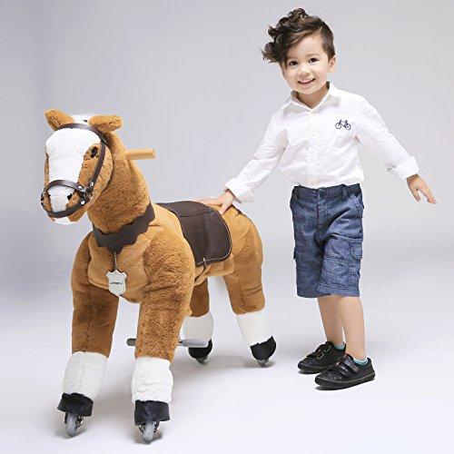 """UFREE HORSE 36"""" Medium fahrendes Schaukelpferd, Kuscheltier, Pony auf Rollen, Geburtstagsgeschenk für Kinder 3-9(Weiß Mane & Tail)"""