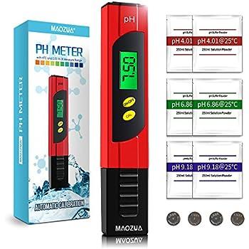 MAOZUA PH Messgerät ATC Funktion Wasserqualität Tester mit LCD Display 0.01pH Hohe Genauigkeit, 0.00-14.00 Messbereich PH-Meter für Haushalt Trinkwasser Hydroponic Aquarium
