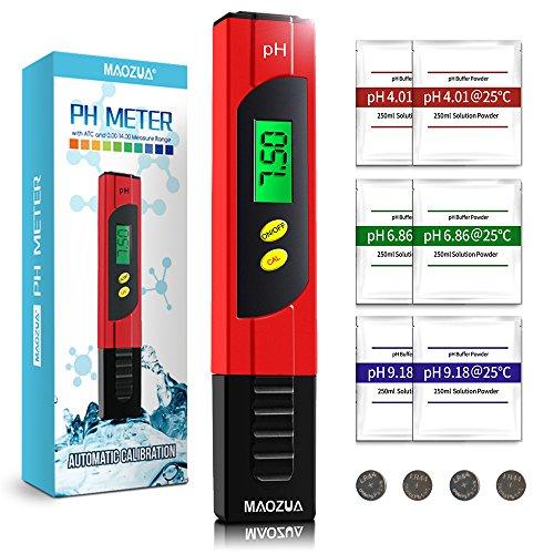 MAOZUA PH Messgerät ATC Funktion Wasserqualität Tester mit LCD Display ± 0.01pH Hohe Genauigkeit, 0.00-14.00 Messbereich PH-Meter für Haushalt Trinkwasser Hydroponic Aquarium