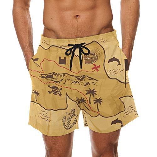BHWYK Men's Old Map of Treasure Island Beach Board Shorts Quick Dry Swim Trunkfor Summer Vacations M-XXL Code(L) Treasure Beach Pants