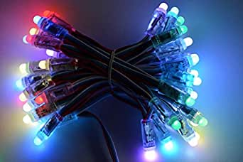 RGB addressable LED 50 Pixel light string WS2801 with 1m lead wire with bare wires for indoor or outdoor use suitable for christmas, weddings parties, halloween etc
