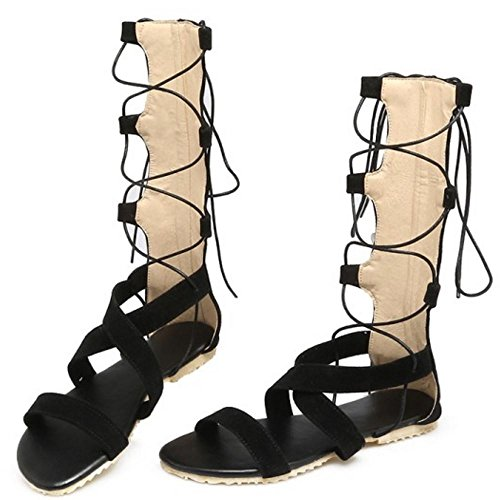 TAOFFEN Damen Gladiator Knee High Cut Outs Outdoor Flach Sommer Sandalen 960 Schwarz