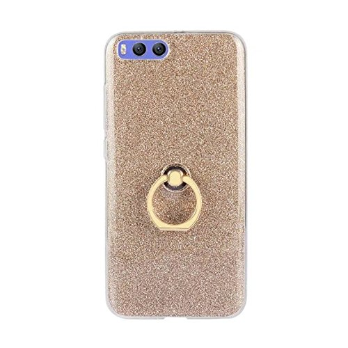 Soft Flexible TPU Back Cover Case Shockproof Schutzhülle mit Bling Glitter Sparkles und Kickstand für Xiaomi 6 ( Color : Black ) Gold