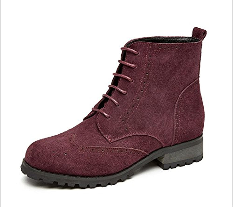 KESI Botas de mujer, zapatos, estilo europeo y americano, encaje, ante, moda, color de hechizo, tacones bajos,...