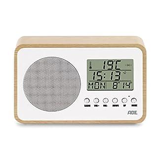 ADE BR1705 Radio (kompakt und batteriebetrieben im Retro-Style mit Uhr, LCD-Display, Wecker, Thermometer und Kalender) Weiß - Birke