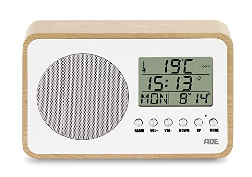 Ade br1705Radio (compacta y Pilas de Estilo Retro con Reloj, Pantalla LCD, Despertador, Termómetro y Calendario) Color Blanco–Abedul