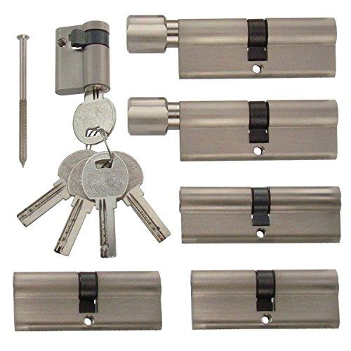 Set6 6x Zylinderschloss gleichschließend verschiedene Größen 1x80mm 2x70mm 1x40mm /2x80 mit Knauf