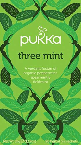 Pukka Three Mint, Organic Herbal Tea with Peppermint, Spearmint & Fieldmint (4 Pack, 80 Tea bags)