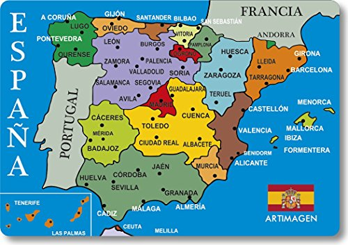 Art picture Magnet Map Cities Spain Blue 80x55 mm.