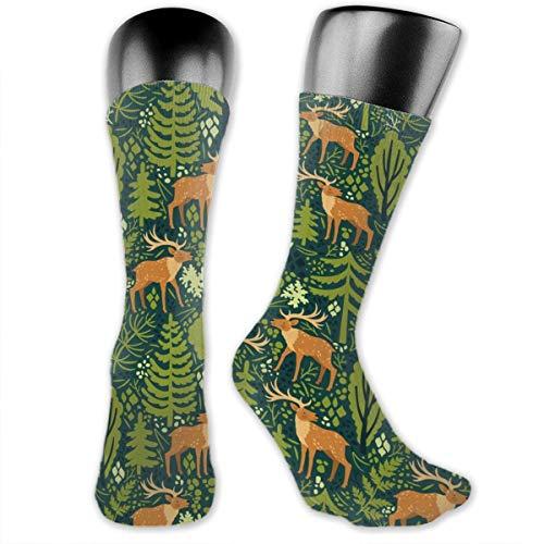 Fun Life Art Deer In The Forest Lässige, athletische Socken mit voller Besatzung, die einen Kompressionsfuß im Fitnessstudio - Deer Hunter Kostüm
