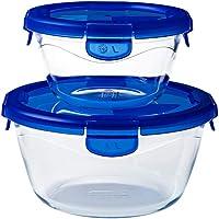 Pyrex® - Cook & Go - Lot de 2 boîtes de conservation en verre rondes avec couvercles hermétiques et étanches (0.7L, 1.6L…