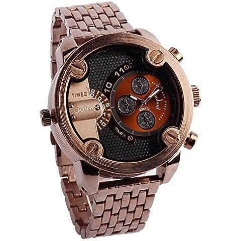 GL Uomini Russia militari per il tempo libero al quarzo da polso cinturino in metallo Sub quadrante Dual Time Display orologio resistente all'acqua, brown